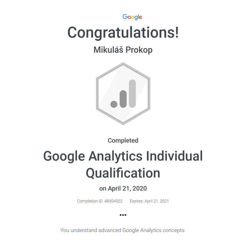 Certifikát Google Analytics Individual Qualification (GAIQ)