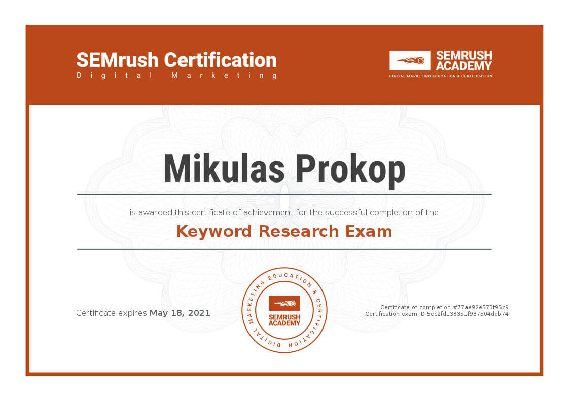 Certifikát Keyword Research Exam od SEMRush