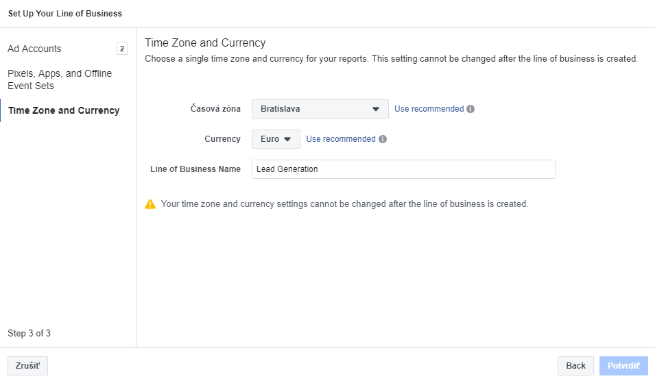 Facebook Attribution - Business Line Time Zone and Currency
