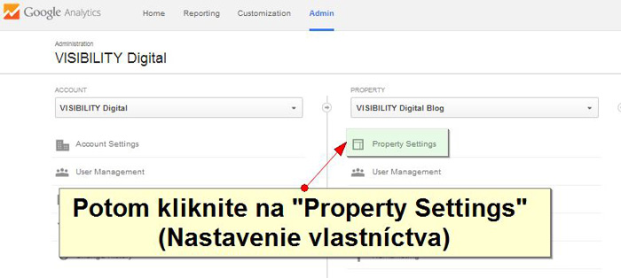 Property settings ako prepojiť google webmaster tools a analytics
