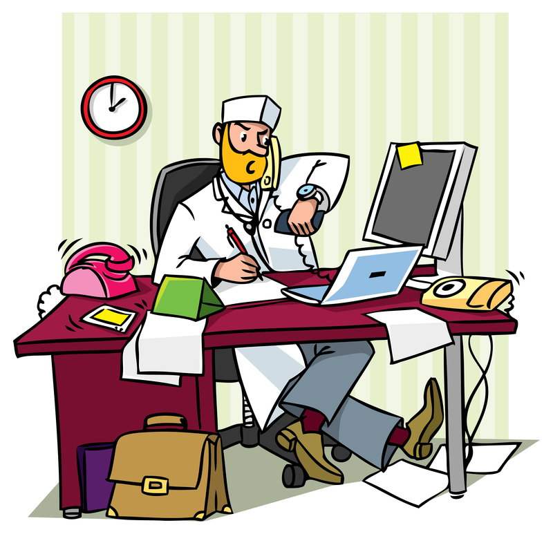 http://www.dreamstime.com/stock-photography-busy-chief-doctor-office-table-writing-talking-phone-looks-his-watch-image47894572