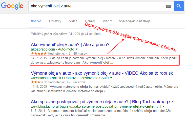 meta description v SERP