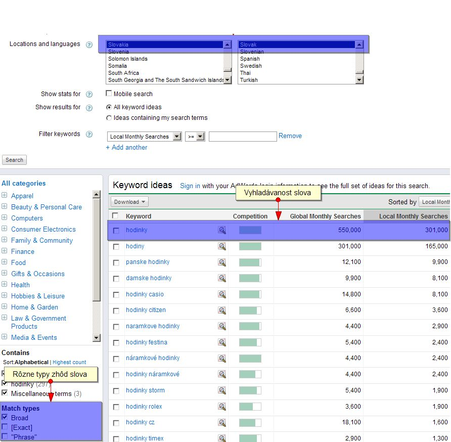 screen google keywords tool
