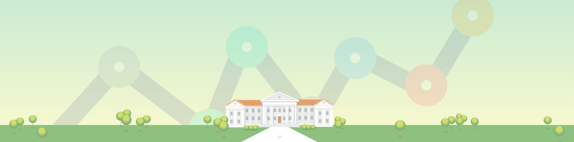 biela budova akadémie s oranžovou strechou
