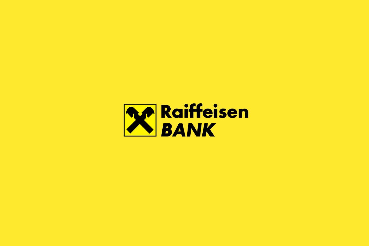raiffeisen žlté pozadie a logo